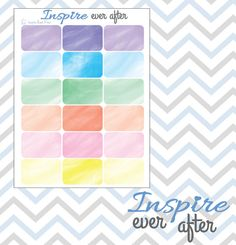 Watercolor Collection Half Boxes Planner by InspireEverAfter