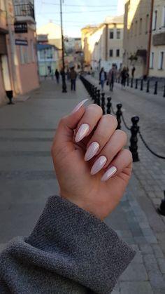 Almond Acrylic Nails, Cute Acrylic Nails, Cute Nails, Pretty Nails, Pink Acrylics, Glitter Nails, Cute Almond Nails, Milky Nails, Pointed Nails