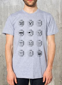 Lego Heads Men's Graphic TShirt Heather by CrawlSpaceStudios