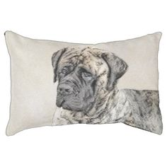 Shop English Mastiff (Brindle) Painting - Original Dog Decorative Pillow created by alpendesigns. Personalize it with photos & text or purchase as is! English Mastiff Puppies, Mastiff Dogs, Brindle Mastiff, English Mastiffs, Tibetan Mastiff For Sale, Japanese Mastiff, Giant Dogs, Puppy Breeds