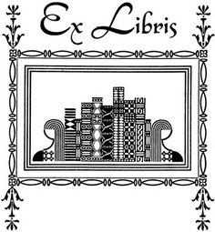 ex libris bookplate featuring lovely art deco stylized books with women as bookends