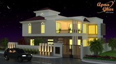 Home is where the Heart is .....  Heart touching view of Duplex House Design...  Have a look on 3 Bedroom Duplex House Design in 272SqM (17m X 16m). Call Toll-Free No.- 1800-102-9440 Email: support@apnaghar.co.in