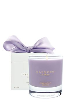 Calypso Lavender candle -- a fresh burst of lavender with citrus and tart berry highlights wrapped in a soft jasmine note with an underlying hint of sweet musk.