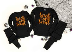 Trick or Treat v4 Solid Black Pajamas Solid Black- Halloween Pajama Sets - Kids and Adult Sizes by TwinkleTwinkleTees on Etsy Bachelor Party Shirts, Pajama Set, Pajama Pants, Tuxedo T Shirt, Halloween Pajamas, Groom Shirts, Sleep Shirt, Black Pajamas, Pajamas Women