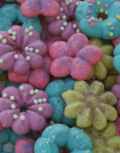 Spring Spritz Cookies - ReMarkable Home blog - Lots of decorating ideas with different colors of dough and different colors of candies and sugars.