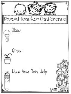 This parent-teacher conference sheet is set up so the teacher can discuss the students strengths, what they could improve upon, and how parents can help their student improve. This is a great way to have a positive and effective conference. Parent Teacher Conference Forms, Parent Teacher Communication, Parent Involvement Ideas, Parent Teacher Meeting, Teacher Forms, Student Teacher, Parent Resources, Preschool Classroom, Kindergarten Classroom
