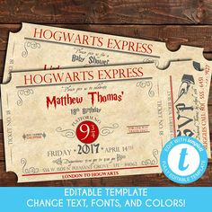 Whether its a birthday party, baby shower, or bridal shower, start your Harry Potter Party off right with a Train Ticket to Hogwarts Invitation. This invitation will drop jaws with the intricate detail in its design. This invitation can be customized as any type of Harry Potter