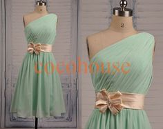 Short One Shoulder Mint Bridesmaid Dresses Simple Party Dresses Hot Prom Dresses Homecoming Dresses Evening Dresses Wedding Party Dresses