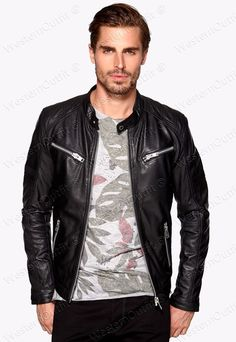 New Arrival Men Real Lambskin Motorcycle Premium Quality Leather Biker Jacket 18 #WesternOutfit #Motorcycle