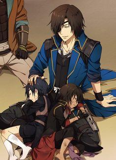 Touken Ranbu and Sengoku Basara Series crossover ~  Date Masamune, Ookurikara and Shokudaikiri Mitsutada   http://www.zerochan.net/1882712