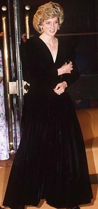 Designed by Bruce Oldfield. A black velvet evening gown, worn for an official portrait by Lord Snowdon  and at the first night gala opening of 'Les Miserables' at the Barbican centre, 10th October, 1985.  $36,800.00 Owned by a woman from Florida. Sold March 2013 by Kerry Taylor auctions £50,400