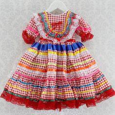 Vestido Festa Junina Xadrez Vermelho com Fitas e Rendas (Tamanho: 2 e 4)