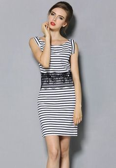 Black White Striped Sleeveless Lace Dress