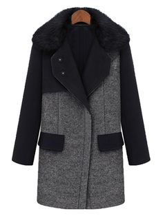 Gary Fur Collar Woolen Coat With Contrast Top | abaday