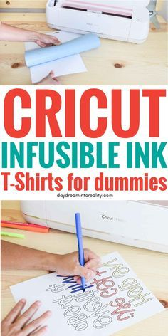 Make T-Shirts with Cricut Infusible Ink Transfer Sheets and Markers - - Hi Daydreamers! Today you are going to learn how to make beautiful T-Shirts with Cricut. How To Use Cricut, Cricut Help, Inkscape Tutorials, Cricut Tutorials, Cricut Fonts, Cricut Vinyl, Cricut Air, Crafts For Teens To Make, Diy And Crafts