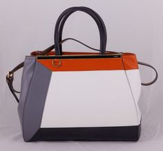 Сумка Fendi 2Jours Elite Tote из высококачественной натуральной кожи. Оранжевый, серый, черный, белый цвета