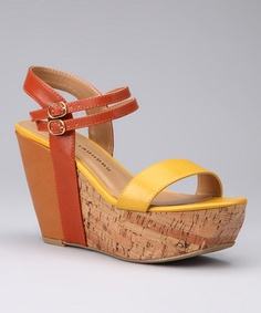 Take a look at this Yellow Burnt Orange Go Getter Platform Wedge by Chinese Laundry on #zulily today!