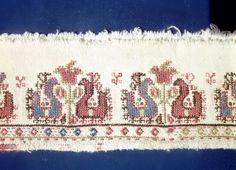 Female clothes and embroidery. Embroidery on female shirt near Samokov [Source http portal. Turkish Fashion, Turkish Style, Folk Embroidery, Folk Costume, Cross Stitch, Textiles, Birds, Bulgarian, Point