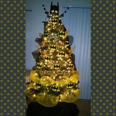 My son Christmas tree Batman theme. - Batman Decoration - Ideas of Batman Decoration - My son Christmas tree Batman theme. Batman Christmas Tree, Christmas Trees For Kids, Christmas Tree Painting, Christmas Tree Themes, A Christmas Story, Xmas Tree, All Things Christmas, Kids Christmas, Christmas Ornaments