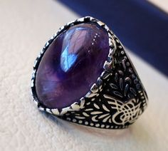 amethyst agate natural purple stone sterling by AbuMariamJewels