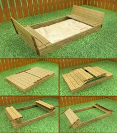 Sand Box covered to benches! SOOO want this for the kids!