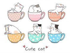 Draw cute cat sleeping in cup of tea Premium Vector - - Cats Love Cute Cat Drawing, Cute Drawings, Cute Cat Sleeping, Image Chat, Cat Whisperer, F2 Savannah Cat, Photo Chat, Cat Gif, Adobe Illustrator
