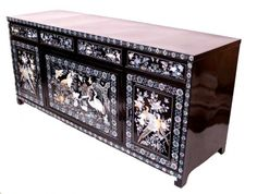 Korean mother of pearl inlay | 386: VINTAGE KOREAN LACQUER MOTHER OF PEARL CABINET : Lot 386
