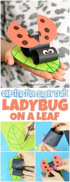 Construction Paper Ladybug on a Leaf Spring Craft for Kids #springcrafts #ladybugcrafts #craftsforkids