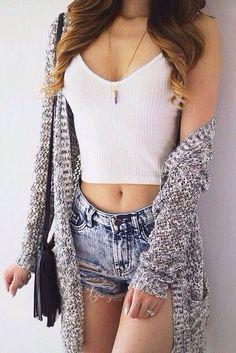 White Halter Crop Top With Ripped Denim Shorts, Grey Knit Cardigan, Black Fringe Bag and Gold Necklace