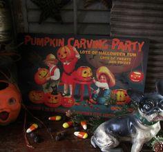 Primitive Antique Vtg Style Jack O Lantern Pumpkin Cat Party Halloween Tin Sign #NaivePrimitive