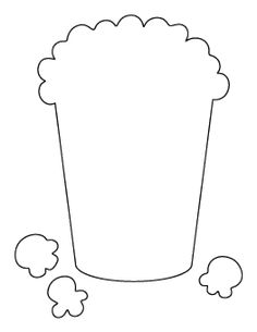 Popcorn pattern. Use the printable outline for crafts
