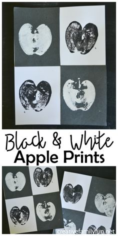 Learn about the art concept of contrast when you create this fun twist on the traditional apple prints kids craft: Black and White Apple Prints. Apple Art Projects, Projects For Kids, Crafts For Kids, Fall Crafts, Preschool Arts And Crafts, Preschool Colors, Preschool Projects, Preschool Activities, Apple Activities