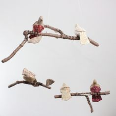 5 little birds told me mobile by baby Jives $162 #bird #mobile #branches