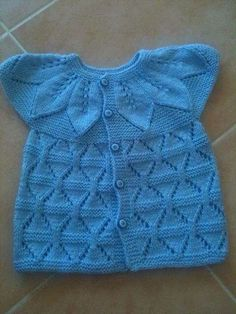 Diy Crafts - An interesting bodice stitch to accompany the leaf lace yoke Baby Vest, Baby Cardigan, Crochet Cardigan, Knit Crochet, Knit Baby Dress, Lace Knitting Patterns, Cardigan Pattern, Knitted Bags, Crochet For Kids