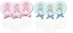 Get your free printable baby shower cupcake toppers both for little baby boys and girls.