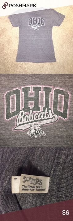 OU Ohio University Bobcats Vintage Tee Super soft Ohio University Bobcats vintage-style tee. Gray with green and pink OU logo. Size small. American Apparel Tops Tees - Short Sleeve