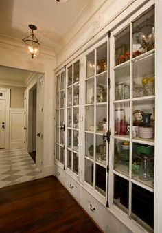 Do-able DIY antique kitchen idea Pantry Design, Kitchen Cabinet Design, Antique Windows, Vintage Windows, Dining Room Storage, Family Room Decorating, Built In Cabinets, Butler Pantry, House Rooms