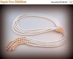 ON SALE Gorgeous Freshwater Cultured Button Pearl Lariat Necklace - Four Strands Pink and White Pearls - Sterling Silver Spacer Beads
