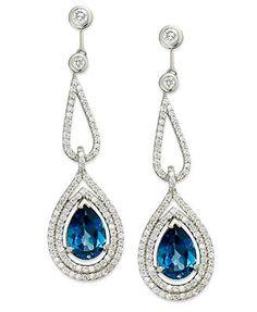 14k White Gold Earrings, London Blue Topaz (7 ct. t.w.) and Diamond (1-3/8 ct. t.w.) Pear Drop Earrings