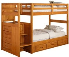 Discovery world furniture Stair stepper bunk Beds for Kids Bedroom Furniture. Twin Over twin bunkbeds with stairs Bed for Children at eKidsRooms.com