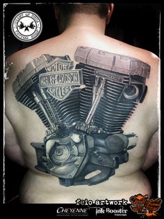 Motor Harley Davidson Cycles engine tattoo