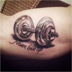 Top 60 Best Crossfit Tattoos For Men - Workout Ink Design Ideas Sport Tattoos, Music Tattoos, Trendy Tattoos, New Tattoos, Tattoos For Guys, Cool Tattoos, Tatoos, Brother Tattoos, Dumbbell Tattoo