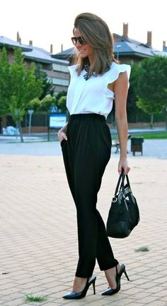 white top and black pantss
