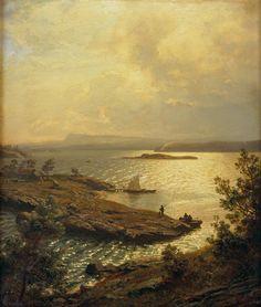 Hans Gude (1825-1903): Blick von Solbakken (Baerum) in den Sandviks-Fjord 1874