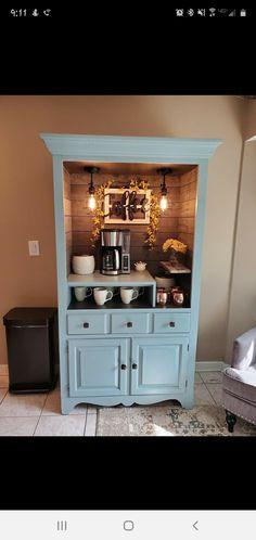 Repurposed armoire made into a coffee bar Refurbished Furniture, Cabinet Furniture, Repurposed Furniture, Furniture Makeover, Diy Furniture, Coffee Nook, Coffee Bar Home, Home Coffee Stations, Coffee Bar Design
