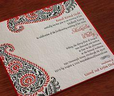 Unique #Indian #paisley letterpress wedding invitation design, indira.