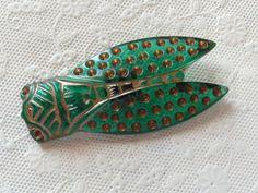 Czech Glass Cicada Button