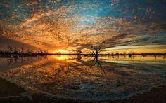 fa felhő naplemente tükröződés