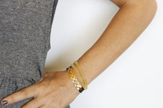 Gold flat links and black leather bracelet, bridesmaid gift, everyday bracelet, gold geometric bracelet