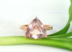 Engagement Ring -  4.5 Carat Morganite Ring With Diamonds In 14K Rose Gold. $650.00, via Etsy.